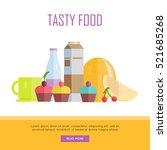 tasty food concept web banner.... | Shutterstock .eps vector #521685268