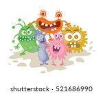 set of cartoon monsters. funny... | Shutterstock .eps vector #521686990