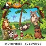 many wildlife living in the... | Shutterstock .eps vector #521690998