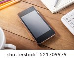 smart phone mobile with office... | Shutterstock . vector #521709979