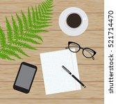 flat lay  top view office desk. ... | Shutterstock .eps vector #521714470