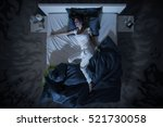 nervous woman in bed have a... | Shutterstock . vector #521730058