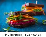 gluten free vegan sandwiches... | Shutterstock . vector #521731414