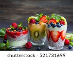 layered berry and chia seeds... | Shutterstock . vector #521731699
