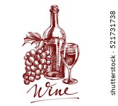 collection wine hand drawn... | Shutterstock .eps vector #521731738
