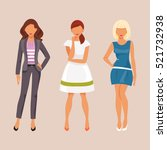 three fashionable girl on a... | Shutterstock .eps vector #521732938