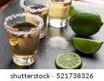 tequila shots with lime and... | Shutterstock . vector #521738326