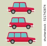 set of cars  vector flat style | Shutterstock .eps vector #521742874