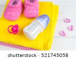 baby bottle with milk and towel ... | Shutterstock . vector #521745058