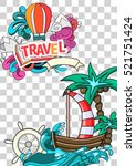 cartoon style. summer tourism... | Shutterstock .eps vector #521751424