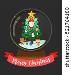 merry christmas snow globe with ... | Shutterstock .eps vector #521764180