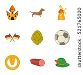 tourism in germany icons set.... | Shutterstock . vector #521765020