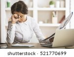 stressed young woman doing... | Shutterstock . vector #521770699