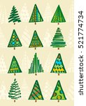 christmas greeting card with... | Shutterstock . vector #521774734