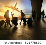 people and traveling luggage... | Shutterstock . vector #521778610