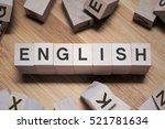 english word written in wooden... | Shutterstock . vector #521781634