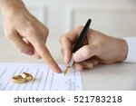 man signing marriage contract ... | Shutterstock . vector #521783218