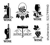 set of elegant wine logo... | Shutterstock .eps vector #521799940