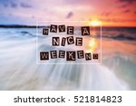 happy weekend quote with phrase ... | Shutterstock . vector #521814823