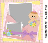 template for baby's photo album ... | Shutterstock .eps vector #52181593