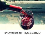 Pouring Red Wine. Wine In A...