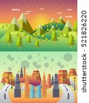 ecology concept vector. city... | Shutterstock .eps vector #521826220