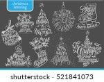 set of christmas lettering... | Shutterstock .eps vector #521841073