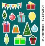 christmas and new year sticker... | Shutterstock .eps vector #521842504