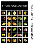 set of vector fruits flat icons.... | Shutterstock .eps vector #521844448