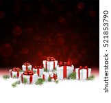 red christmas background with... | Shutterstock .eps vector #521853790