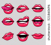 fashion patch badges with lips... | Shutterstock .eps vector #521860696
