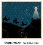 a silhouette christmas stamp...   Shutterstock . vector #521861653