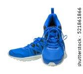 blue sport running shoes... | Shutterstock . vector #521861866
