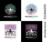 circle abstract tree logo and... | Shutterstock .eps vector #521866090
