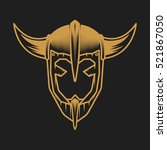 viking helmet concept. logo on... | Shutterstock .eps vector #521867050