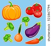 vegetables vector set. patch ... | Shutterstock .eps vector #521867794