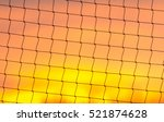 Volleyball Net On Sunset Sky...