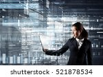 businesswoman with tablet pc .... | Shutterstock . vector #521878534