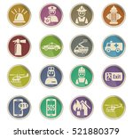emergency web icons on color... | Shutterstock .eps vector #521880379