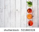 colorful cocktails close up top ... | Shutterstock . vector #521883328