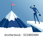 businessman standing on cliff's ... | Shutterstock .eps vector #521883484