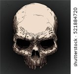 old skull vector with editable... | Shutterstock .eps vector #521884720