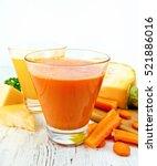 two glassfuls juice of pumpkin... | Shutterstock . vector #521886016