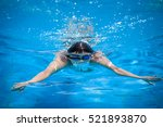 Young Man Swimming In A Pool