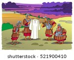 soldiers near the cross divide... | Shutterstock . vector #521900410