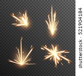 set of fiery sparks on... | Shutterstock .eps vector #521904184