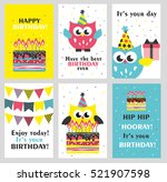 set of 6 cute creative cards... | Shutterstock .eps vector #521907598