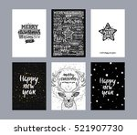set of merry christmas cards.... | Shutterstock .eps vector #521907730
