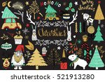 christmas set of design... | Shutterstock .eps vector #521913280