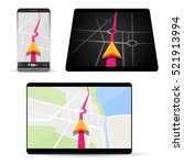 navigation on smartphone or... | Shutterstock .eps vector #521913994
